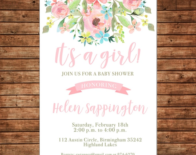 Girl Invitation Watercolor Flowers Baby Shower Birthday Party - Can personalize colors /wording - Printable File or Printed Cards
