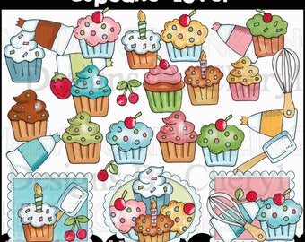 Cupcake Lover Clipart Collection - Immediate Download