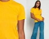 Plain Tshirt Golden Yellow Shirt Vintage BURNOUT Shirt 80s Tee Shirt 80s Grunge Soft T Shirt Paper Thin 1980s Extra Small xs