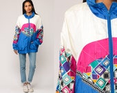 90s Windbreaker Jacket 80s Color Block Neon FUNNEL NECK Shell Jacket Blue White Hot Pink Hipster Vintage Retro Sports Extra Large xl xxl