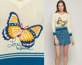 Butterfly Sweater LOVE IS FOREVER 70s Top Boho Vintage Terry Cloth 1970s Novelty V Neck Bohemian Pullover Cream Blue Slouch Extra small xs