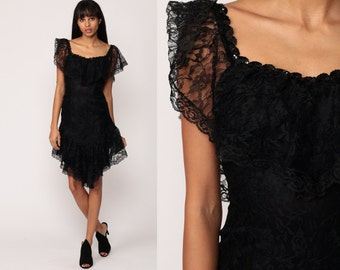 Black Lace Dress 80s Mini Party Off Shoulder Gothic Flutter Sleeve SEQUIN High Low Goth Bohemian Sheath Vintage Extra small xs