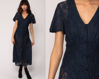 Boho LACE Dress Sheer 90s Midi Grunge Floral Boho GOTH Button Up Dark Blue 1990s Vintage Bohemian Party Gothic Long Small Medium