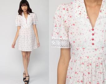 70s Mini Dress Floral Print Bohemian Babydoll 60s Boho PUFF Sleeve LACE Trim Festival Vintage Empire Waist White Red Small
