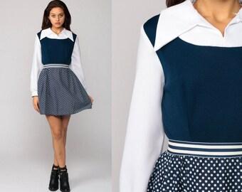 70s Dress Mod Mini High Waisted 60s Retro Polka Dot Collared Long Sleeve Pocket Secretary Navy Blue White Polyester Retro Small