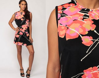 60s Mod Dress Mini Black Floral Print 70s Shift Hippie Boho Tropical Pink Go Go Twiggy Sleeveless Vintage Gogo Sixties Minidress Large