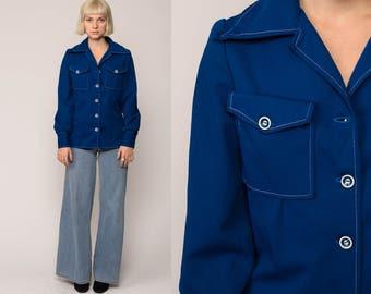 Button Up Shirt 70s Shirt Blue Blouse Hippie Boho 1970s Shirt Disco Top Vintage Collared Plain Hipster Long Sleeve Medium