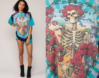 Grateful Dead T Shirt Vintage 1995 Band Shirt SKELETON Roses Skull 90s Rock Tshirt Tie Dye Concert Tee Tour Rock Hippie  Extra Large xl