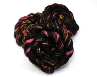 Black BFL Wool/ Silk (60/40) Roving (Combed Top) - Blue Face Leicester/ Silk - Handpainted Felting or Spinning Fiber