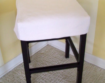 Bar Stool Slipcover, Topstitched Barstool Cover, Brush Denim Natural color