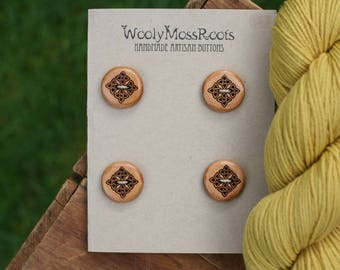 4 Celtic Knot Buttons- Cherry Wood- Wooden Buttons- Eco Craft Supplies, Eco Knitting Supplies, Eco Sewing Supplies