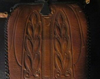 Vintage Art Art Nouveau  Brown Hand Tooled Wilson's Leather Purse/Handbag  Pat.10-5-15