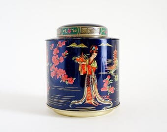 Vintage Daher Tin / Ginger Jar Style Lidded Canister, Asian Women Cherry Blossom Gold Geometric Graphics / Made in England