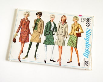 Vintage 1960s Womens Size 10 Skirt Suit Simplicity Sewing Pattern 6685 Complete / bust 31 waist 24