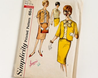 Vintage 1960s Womens Junior Size 11 Skirt Suit and Blouse Simplicity Sewing Pattern 4299 Complete / bust 31.5 waist 24.5