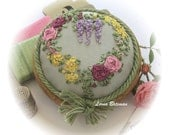 Silk Ribbon Embroidery - PP9B Roses and Wisteria Heart Pincushion Kit (pale green silk)