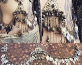 Reserved for A***Turkoman bellydance drape with metal fringe and vintage crystal