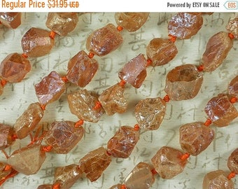 SALE Mystic Aura Crystal Beads Peach with Gold Silver Highlights Rough Nugget Beads 21mm Hammered (5230)