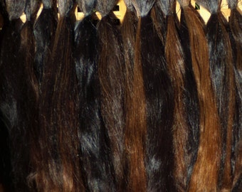 Combed Suri Alpaca Doll Hair 6 - 8 inches long 0.8 of an ounce Natural Dark Brown and Black