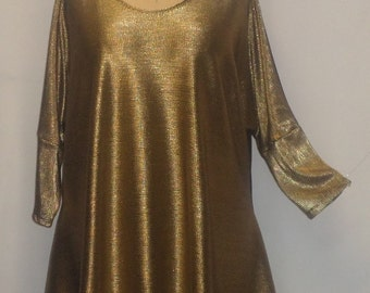 Plus Size Top, Coco and Juan, Lagenlook, Plus Size Tunic, Liquid Gold Knit Drape Side Tunic Top One Size Bust  to 60 inches