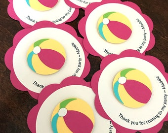 Beach Ball Party Favor Tags, Beach Ball Birthday Party, Beach Ball Favor Tag, Beach Ball Shower, Pool Party, Girl Swim Party, Set of 12