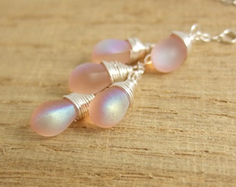 Necklace with a Cascade of Frosty Pink AB Glass Teardrops on a Sterling Silver Chain CDN-690
