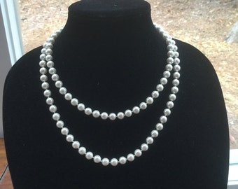ON SALE Vintage Long Glass Pearl Necklace Bridal wedding