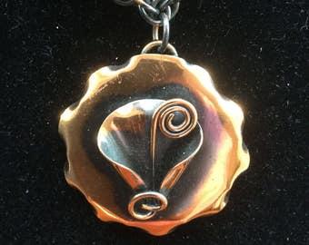 Vintage Arts & Crafts Marshall Copper Modernist Pendant Necklace