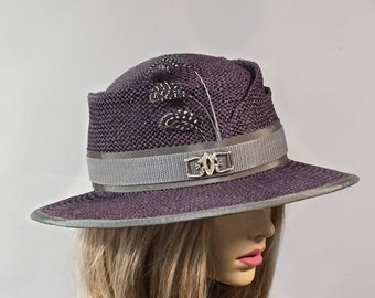 Aidan, wide brim toyo hat, aubergine color, gender neutral, fashionable fedora style