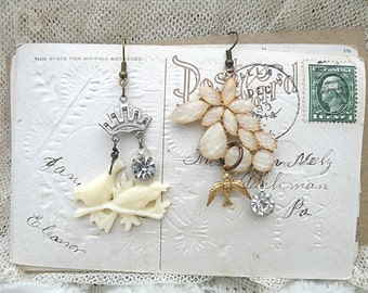 winter bird earrings assemblage mismatch vanilla upcycled jewelry rhinestone