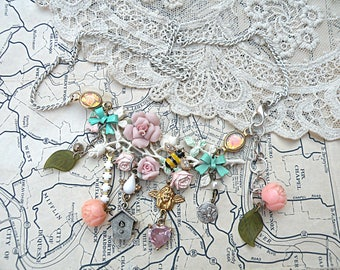 pink cottage rose necklace assemblage petite garden romantic charm upcycled vintage jewelry le petit jardin