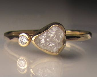 White Raw Diamond Engagement Ring, Rough Diamond Ring in 14k Yellow Gold