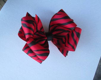 Red Zebra Print Double Boutique Stacked Bow,  Large 4 inch Red and Black Hair Bow, Zoo Animal Bow, Wild and Crazy Red Zebra Hair Bow
