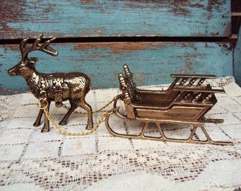 Vintage Christmas Brass Deer and Sleigh Reindeer Buck with Rack large Antlers Golden Brass Figurine Decoration Ornate Details