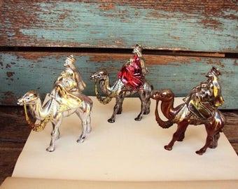 Vintage Christmas Three Wise Men Wisemen Ornaments Figurines Mod Kitsch Mid Century Retro Decoration Hard Plastic Nativity Scene Religious