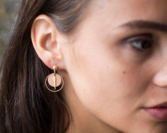 Copper Spike Earring- Copper Earring - Dangle Earrings - Spike Earring - Circle Earrings - Earrings For Women - Drop Earring - Nickel Free