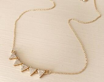 Geometric cz triagle bar necklace. Diamond look. Adjustable. Gift dainty