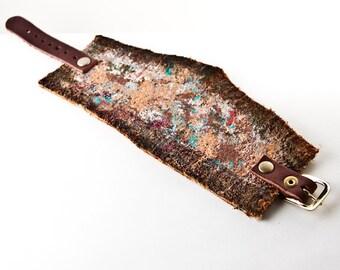 Wide Bracelet Gypsy Boho Jewelry Leather Wrist Cuffs