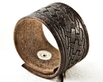Black Bracelet Women's Cuff Tooled Leather Distressed Vintage