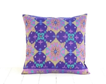 Pillow, Cushion, Ikat, Ethnic, Bohemian, Graphic, Tropical, Industrial, Bali, Indonesia, Cotton, 16 x 16, Purple