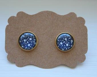 Blue Flower Earrings, Flower Earrings, Stud Earrings, Silver Post, Flower Post, Glass Earrings, Post Stud Earrings, Flower Jewelry
