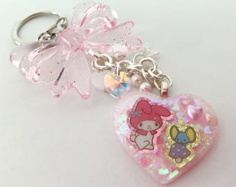 My Melody Resin Heart Beaded Keychain / Bag Charm