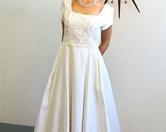 SALE 50% OFF Vintage Beaded Ivory Satin Wedding Dress Full Skirt Long Train Cream Pearl Beading Romantic Elegant Modest Bridal Gown Plus Siz