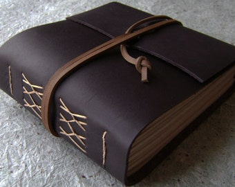 """Chunky leather journal, 408 pages, 5.5""""x 5"""", dark brown, handmade journal, (2273)"""