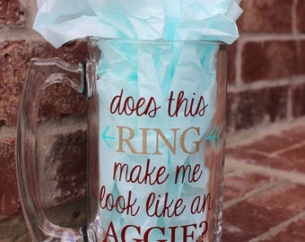 Aggie, Texas A&M, personalized,  ring, dunk, mug, beer, stein, maroon, gold, college, Texas, gift