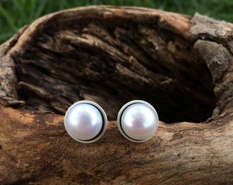 Sterling Silver and Freshwater Pearl Earrings, pearl studs, pearl earrings, pearl jewelry, pearl statement earrings, white pearls, pearls