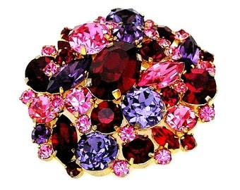 Austria Brilliantly Colored Red Pink and Purple Brooch