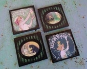 Absinthe coasters - set of 4 wooden coasters Art Nouveau - absinthe, alcohol, gift for him, absinth, housewarming gifts, saint patricks day