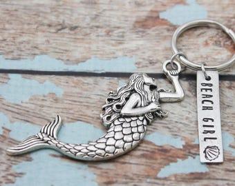 Beach Gift Mermaid Keychain, Personalized Hand Stamped Beach Keychain, Gift for Her, Resort Key chain, Nautical Key Fob