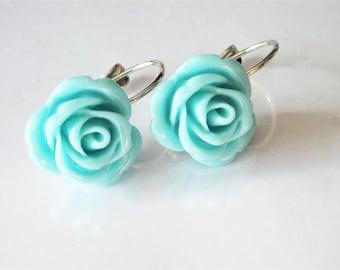 Rose Earrings, Aqua Blue Flower, Leverback, Rose Wedding Jewelry, Bridesmaid Drop, Romantic Flower